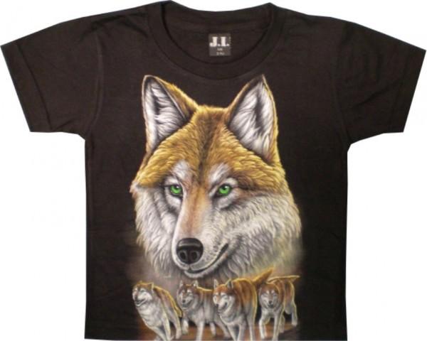 T-Shirt Kids - Wolf Braun mit Welpen