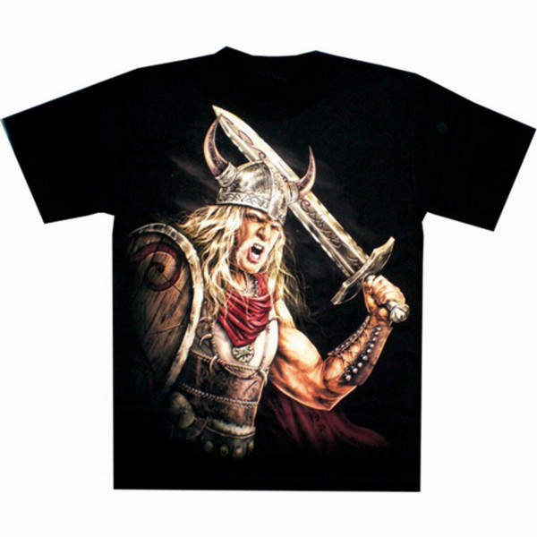 T-Shirt Adults - Viking with sword and shield Glow