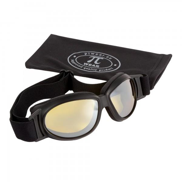 PiWear® Black Hills kleine über Helm Retro Brille schwarz gelb getönt silber verspiegelt Oldtimer