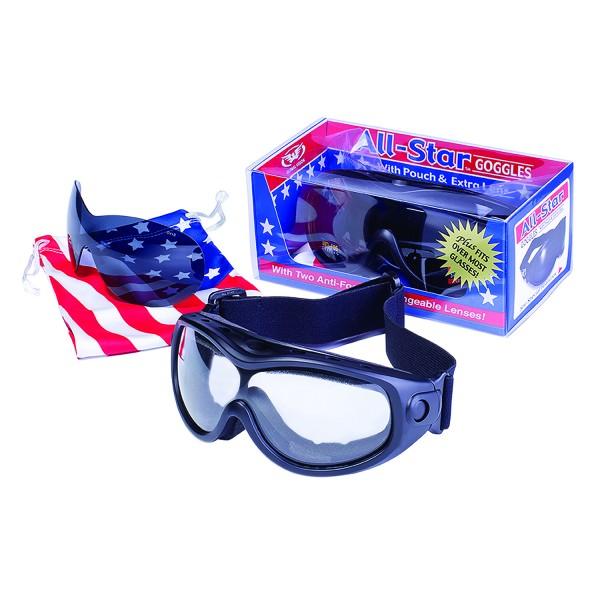 Global Vision All Star Kit Motorrad Bandbrille Wechselglas Kit für Tag und Nacht