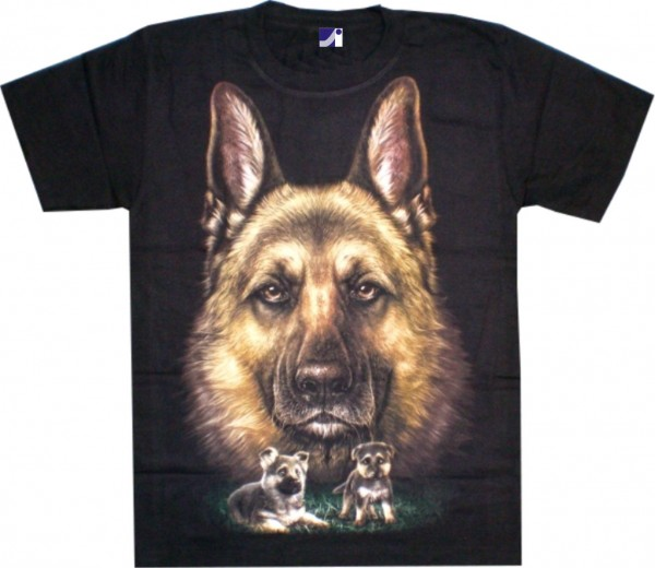 T-Shirt Adults - german shepard with two puppies Glow