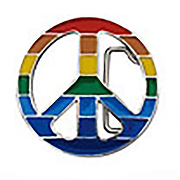 PiWear® Gürtelschnalle Peace bunt BT046