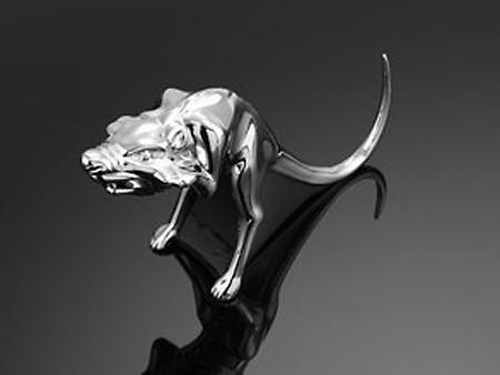 Wütende Ratte, Fenderfigur, chrom, Größe S Schutzblech Kotflügel Skulptur zum Anschrauben Metallausf