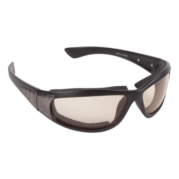 PiWear® Detroit 24 Motorradbrille selbsttönend gepolstert Gunmetal Optik klein und schmal