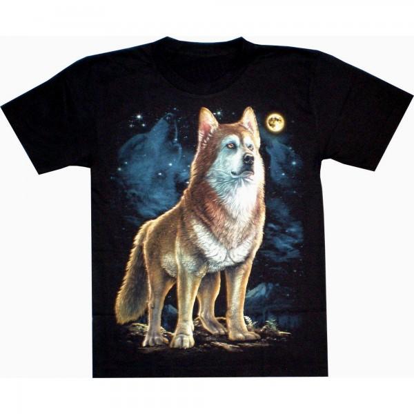 T-Shirt Erwachsene - Stehender Wolf mit Mond oben rechts - Glow
