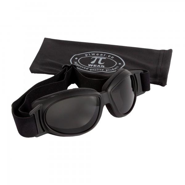 PiWear® Black Hills kleine über Helm Retro Brille schwarz dunkel getönt