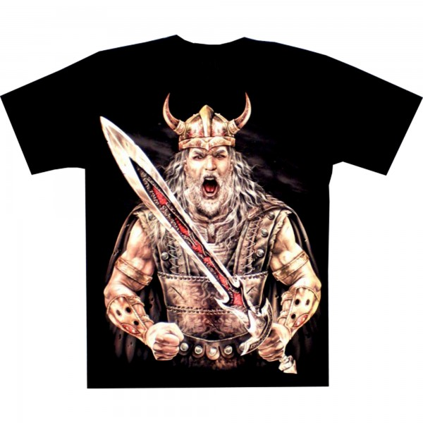 T-Shirt Erwachsene - Wikinger mit Schwert auf Brust - Glow