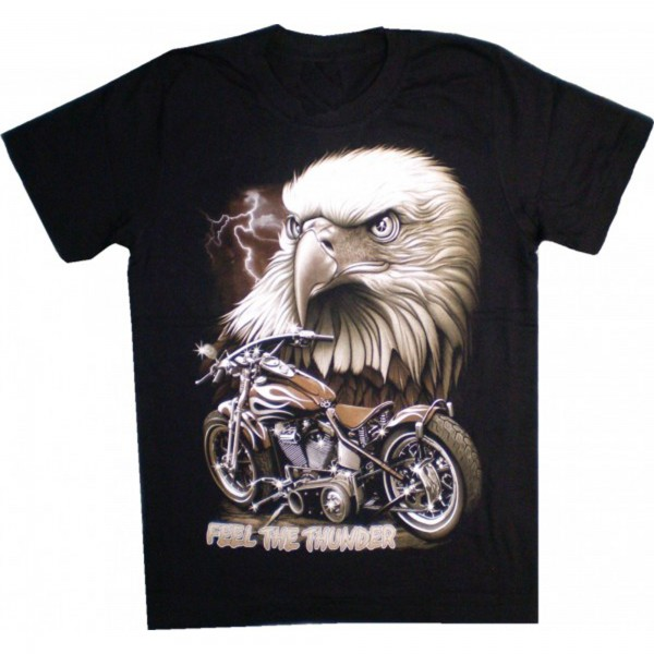"T-Shirt Eagle with Motorbike and ""Feel the Thunder"" Logo"