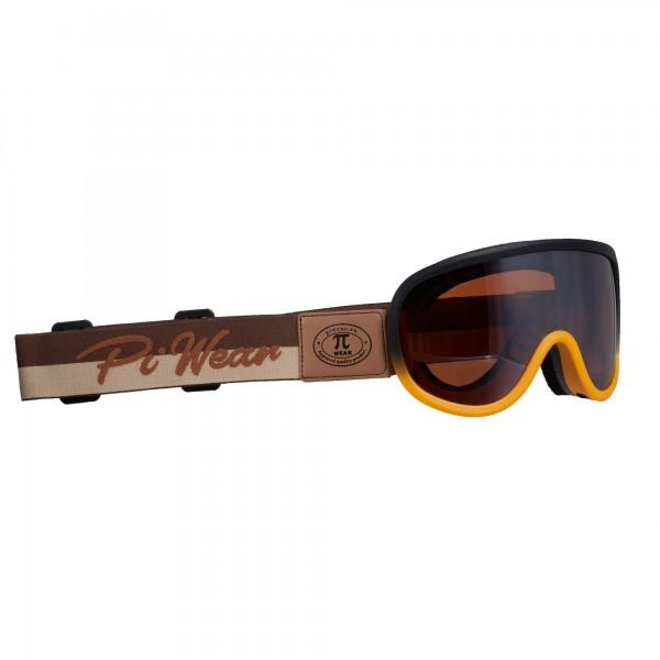 PiWear® Arizona Überbrille schwarz oranger Rahmen braunes Band braun getönt Retro Cafe Racer Brille