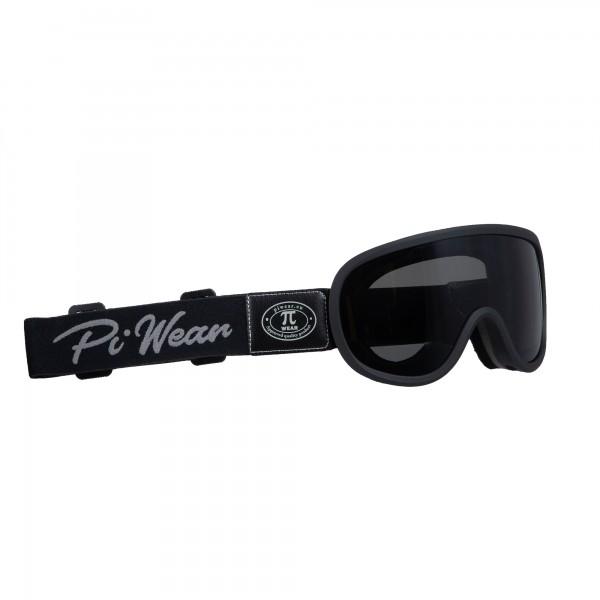 PiWear® Arizona Overglasses Black Frame Black Strap Dark Tinted Retro Cafe Racer Glasses
