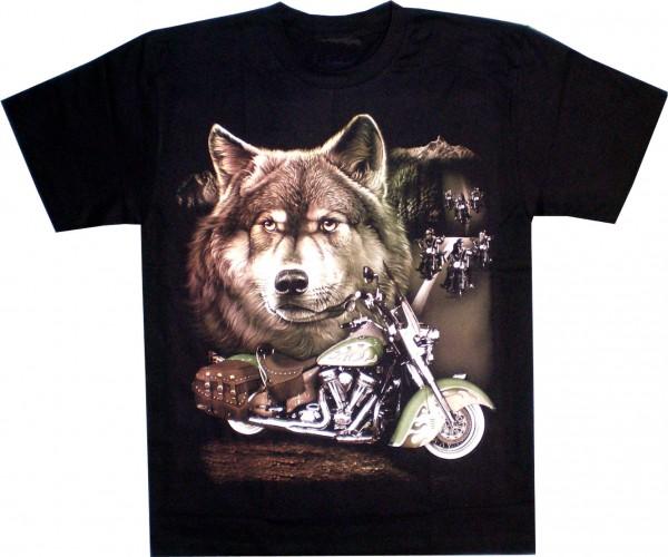 T-Shirt Adults - Wulfhead, Motorbike and bikers on the Street Glow