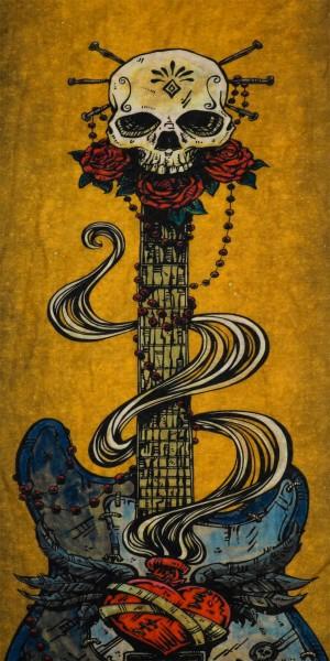 PiWear® Schlauchschal Skull Guitar