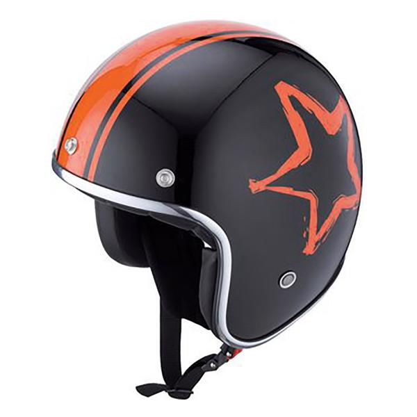 IXS Jethelm HX 89 Star Schwarz/Orange Helmschirmchen anknöpfbar