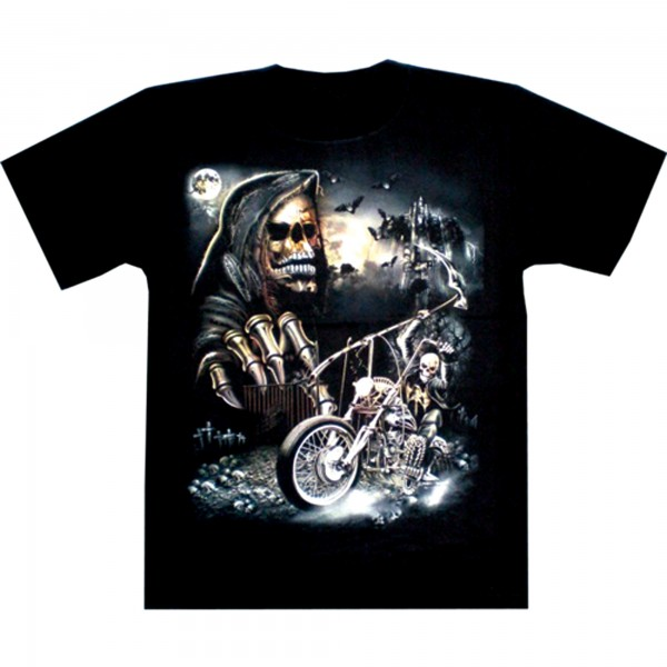 T-Shirt Adults - Skull and Motorcycle Glow