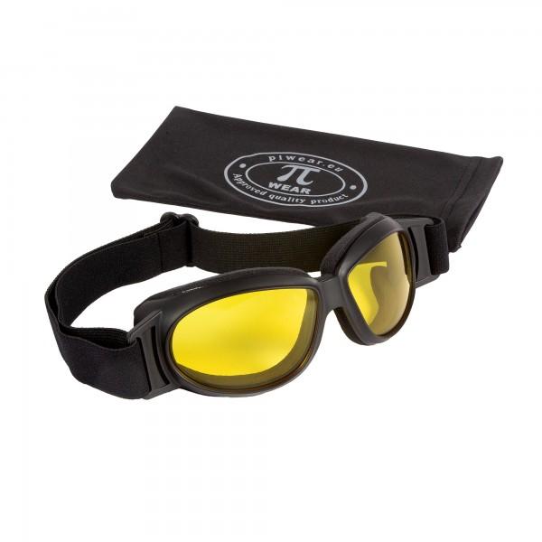 PiWear® Black Hills kleine über Helm Retro Brille schwarz gelb getönt Nachtfahrbrille